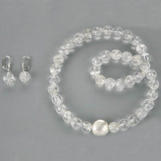 Edelsteine-Bergkristall-Kette-Bergkristalllugeln-mit-Silber