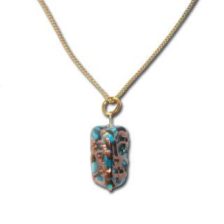Handgewickelte-Perlen-Kette-Rechteckig-hellblau-mit-Gold