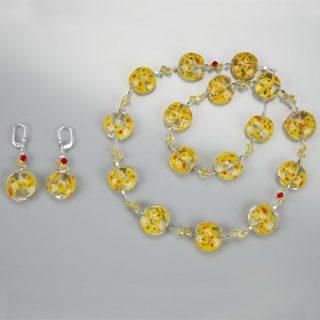 Handgewickelte-Perlen-muranoketten-blumen-ohringe-gelb